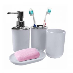 4-pc Bathroom Organizer Set (White)