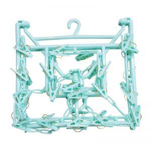 Rectangular Hanger with 38 Clips - Green