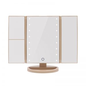 Tri-Fold Led Make Up Mirror - Gold