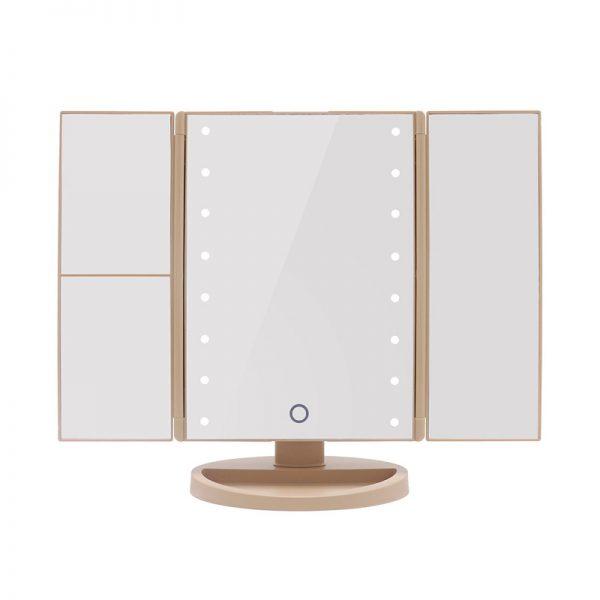 Tri-Fold Led Make Up Mirror - Gold