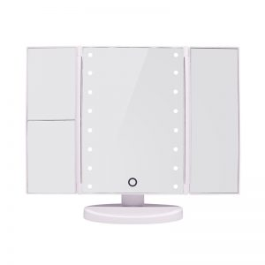 Tri-Fold Led Make Up Mirror - White