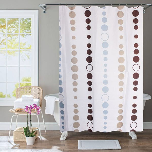 Polyester Shower Curtain Blue & Beige