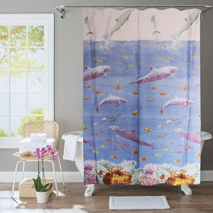 Polyester Shower Curtain Dolphins