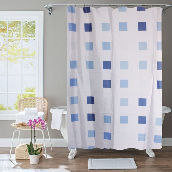 Polyester Shower Curtain Blue Squares