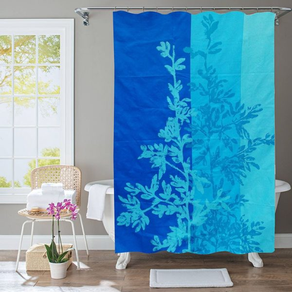 Polyester Shower Curtain Blue Leaves