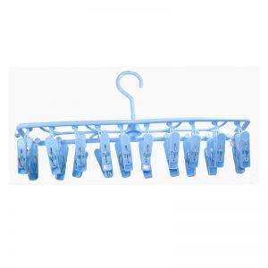 Rectangular Hanger W/ 20 Clips - Blue