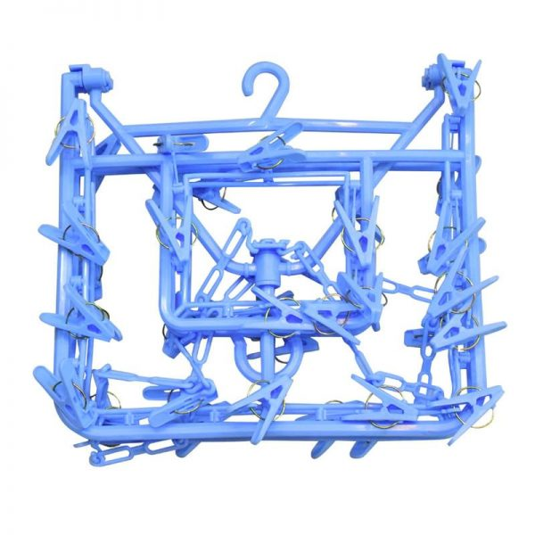 Rectangular Hanger with 38 Clips - Blue