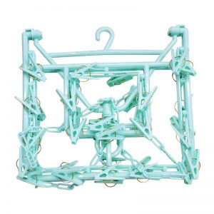 Rectangular Hanger with 38 Clips - Green