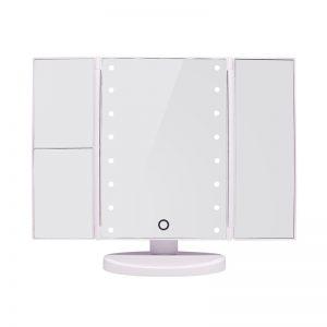 Tri-Fold Led Make Up Mirror - White
