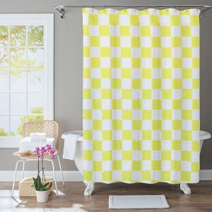 Polyester Shower Curtain Yellow Green Square
