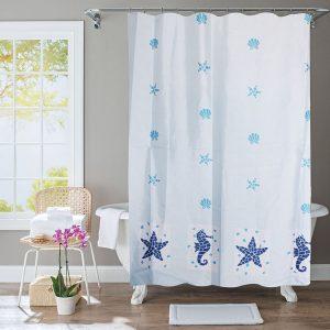Polyester Shower Curtain Blue Starfish