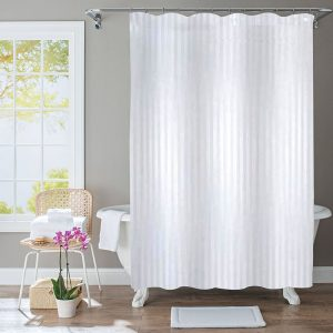 Polyester Shower Curtain Stripe White