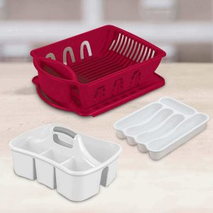 Sterilite Dish Pans, Cutlery Tray, and Caddy